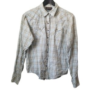 Ariat womans plaid western style pearl snap shirt